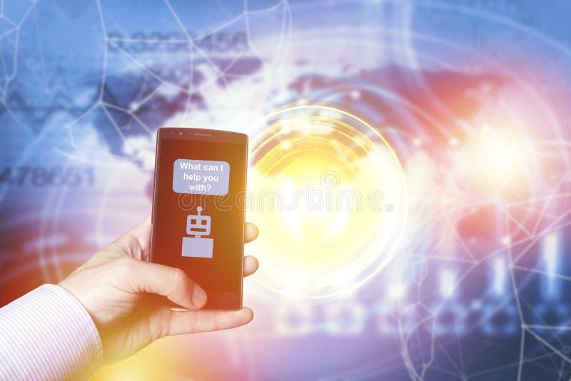 Chatbot en toekomstig communicatie concept stock afbeelding