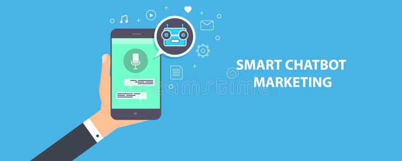 Chatbot esperto - auxílio da voz - conceito da automatização do mercado do chatbot Bandeira lisa do vetor do projeto ilustração do vetor