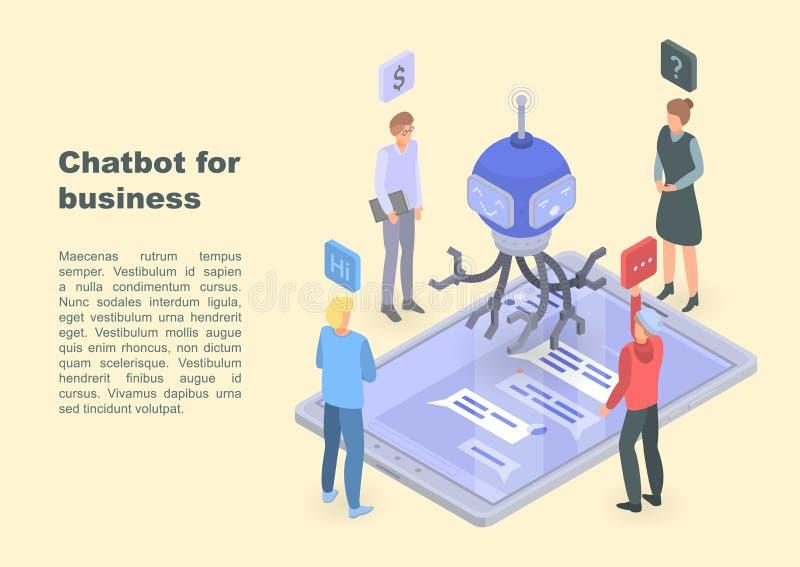 Chatbot för affärsidébanret, isometrisk stil royaltyfri illustrationer