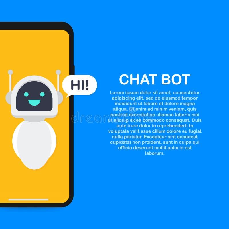 Chatbot-Fahnenkonzept Horizontale Geschäftsfahnenschablone mit der Illustration des Mannes plaudernd mit Chat Bot im Smartphone vektor abbildung
