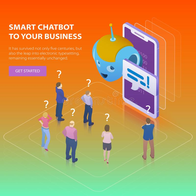 Chatbot and future marketing concept. Flat 3d isometric design concept. People ask questions for the chatbot. Chatbot business con stock illustration