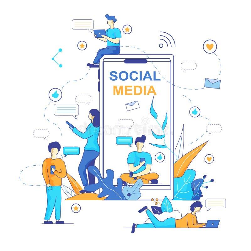 Chatbot gona Popularny trend w Ogólnospołecznych środkach royalty ilustracja