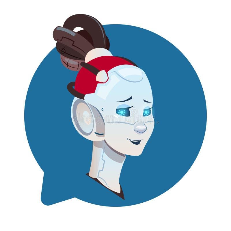 Chatbot gullig kvinnlig robot i för Chatterbot för pratstundbubbla symbol isolerat begrepp teknologi stock illustrationer