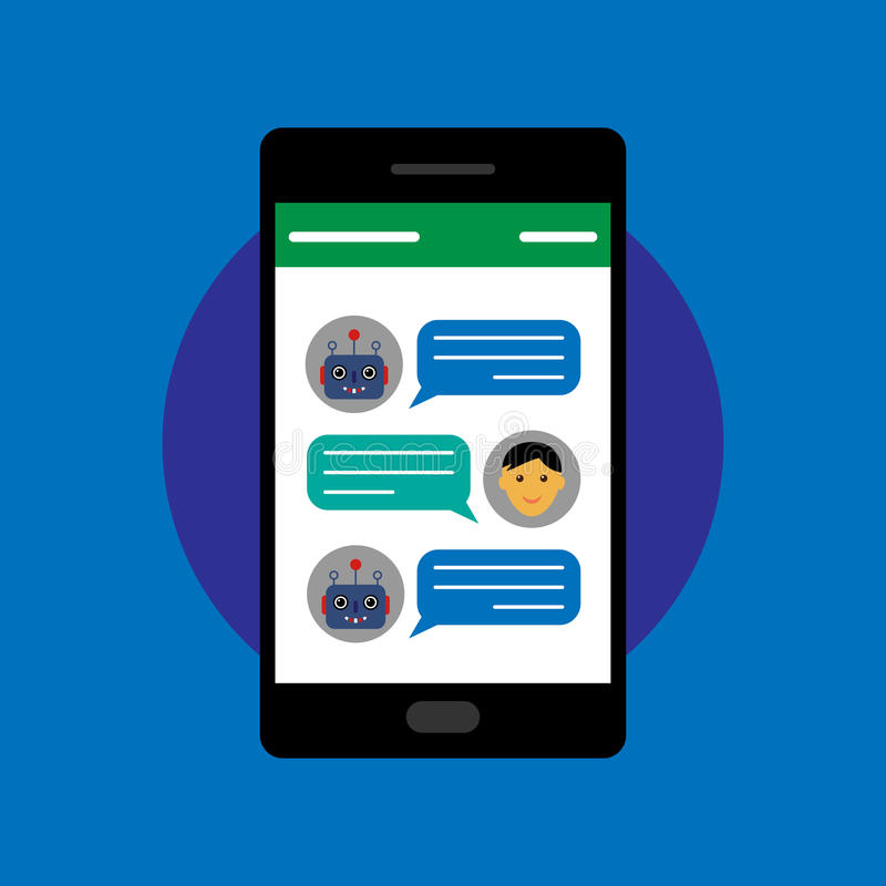 Chatbot and human conversation on smartphone vector illustration