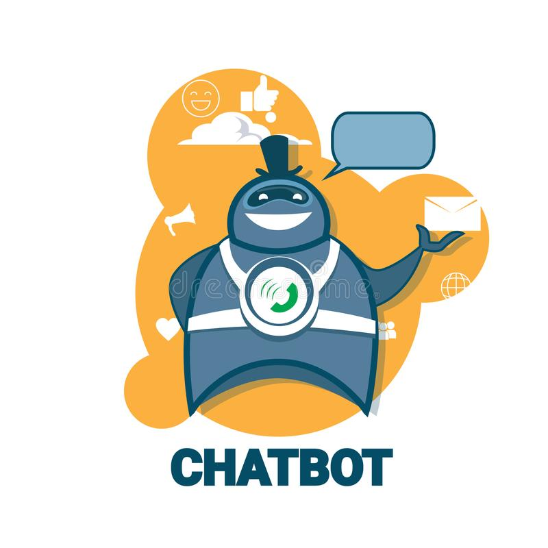 Chatbot Icon Concept Support Robot Technology Digital Chat Bot Application. Vector Illustration royalty free illustration