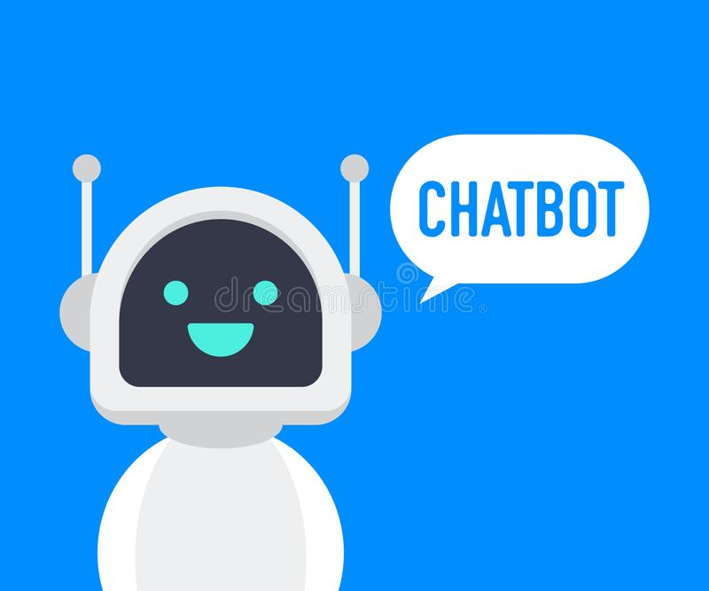 Chatbot icon. Cute smiling robot, chat bot say hi.Vector modern flat cartoon character illustration. Voice support service bot. vector illustration