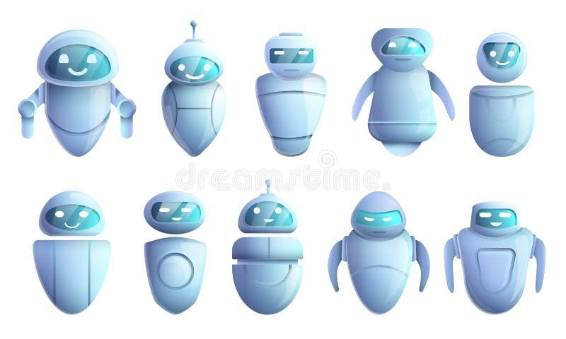 Chatbot icons set, cartoon style royalty free illustration
