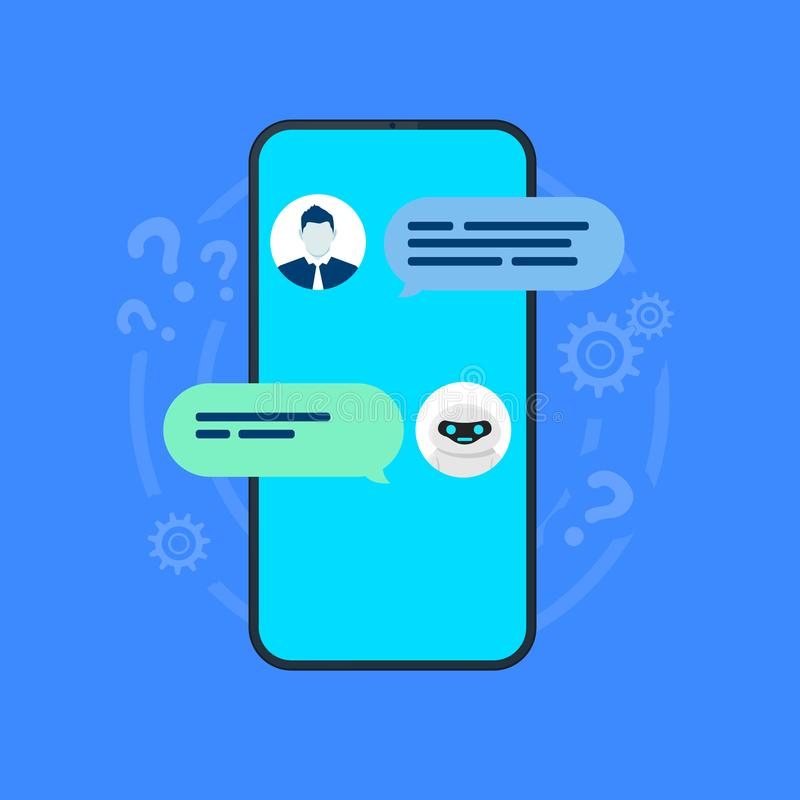 Chatbot illustration. Smartphone with user and robot chatting on screen. Vector vector illustration