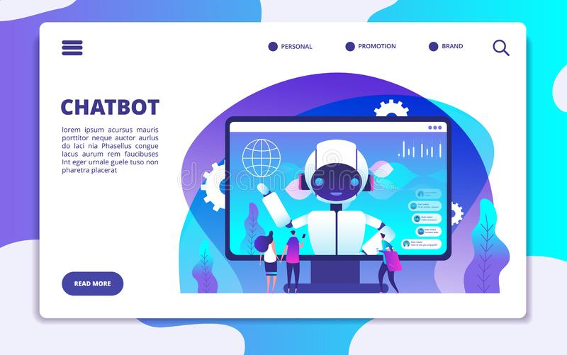 Chatbot landing page. Ai robot chatting with woman and man. Artificial intelligence presentation vector concept royalty free illustration