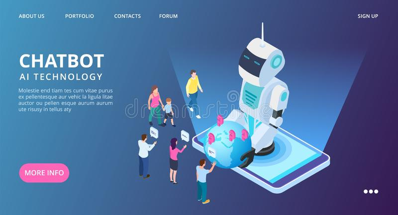 Chatbot landing page. Artificial intelligence vector web banner. Isometric AI robot with people and earth vector illustration