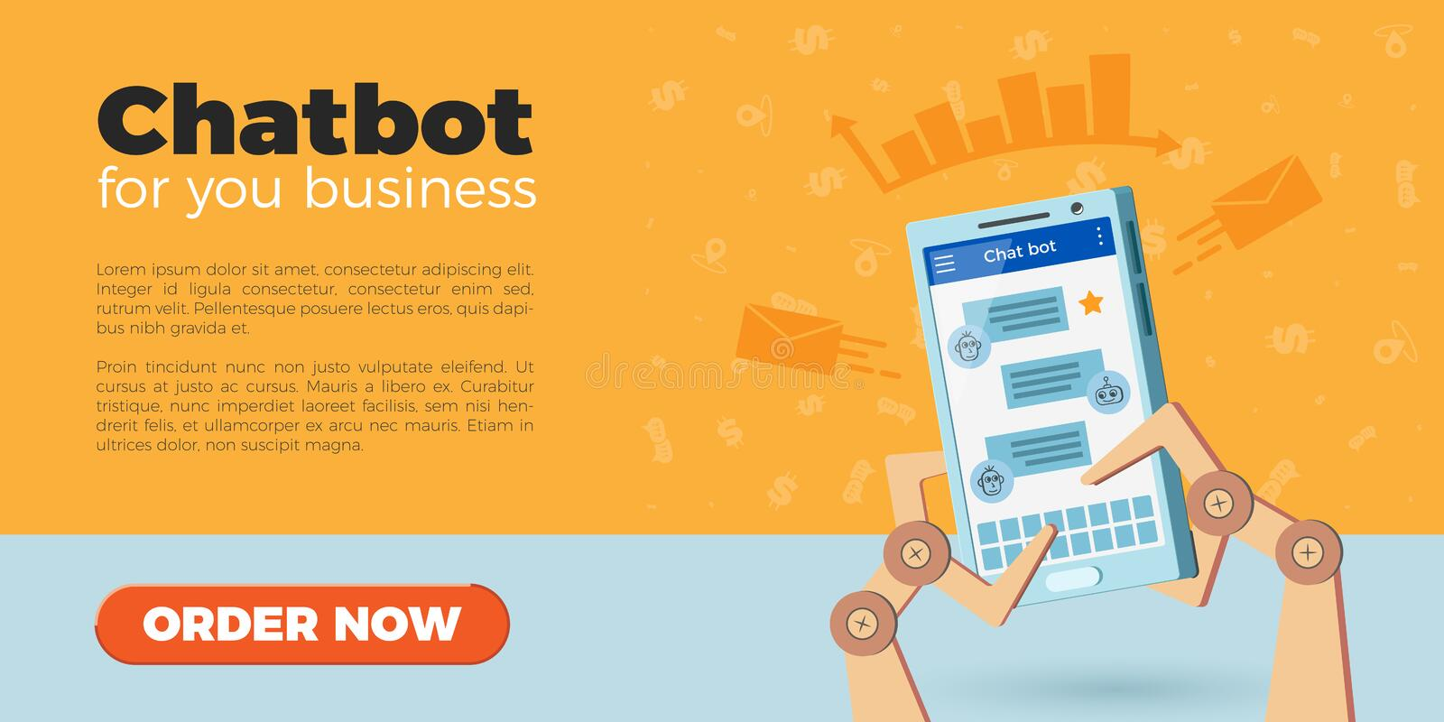 Chatbot landing page. Chat bot landing page design. Vector illustration of robot hands holding smartphone. Icons on background, flat style. Virtual chatbot vector illustration