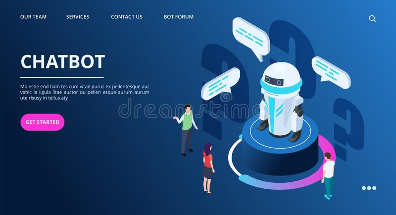 Chatbot landing page. Isometric AI robot with people. Artificial intelligence vector web banner stock illustration