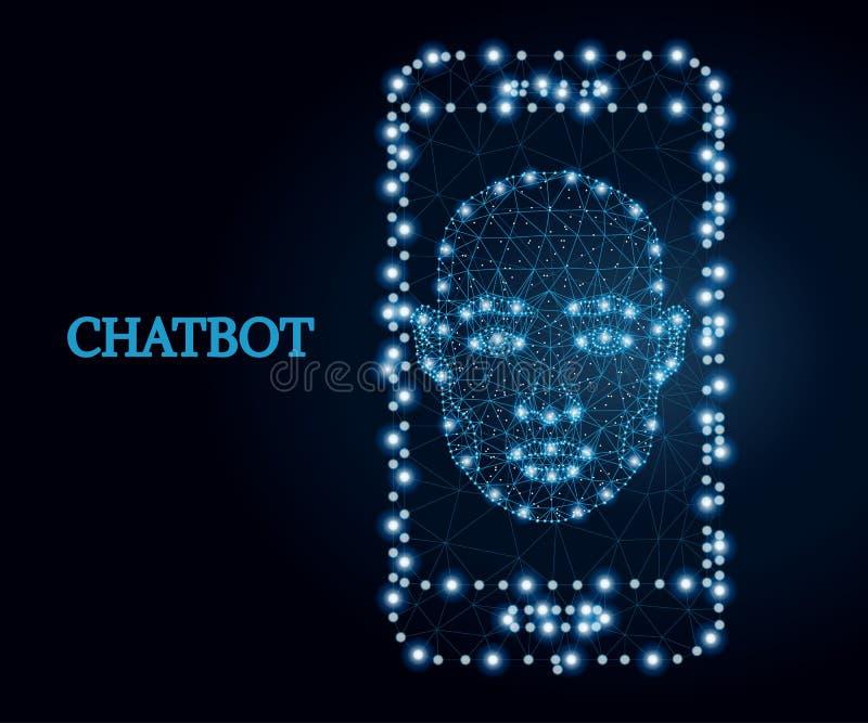 Chatbot mobil app, blått 2 royaltyfri illustrationer