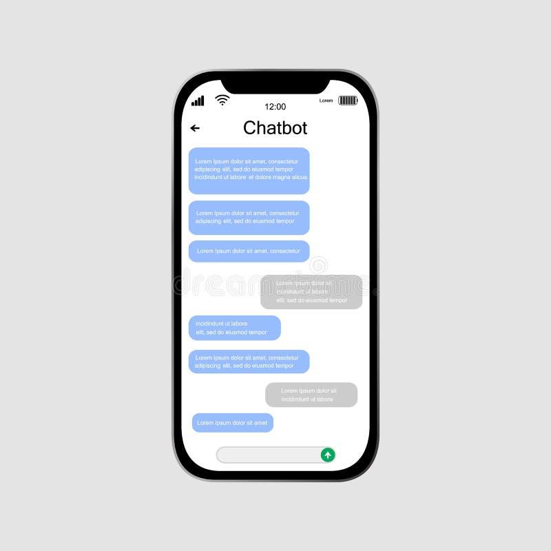 Chatbot mobilt UI designbegrepp Sms budb?rare vektor illustrationer