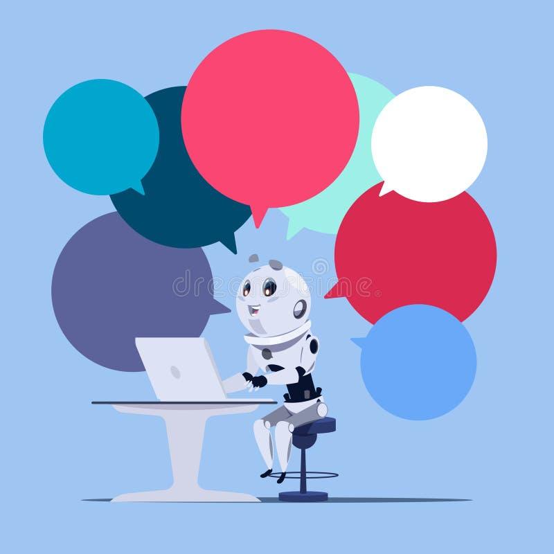 Chatbot o insegna sveglia del modello del computer portatile di uso del robot di App di schiamazzo con tecnologia variopinta di C illustrazione di stock
