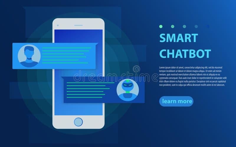 Chatbot och framtida marknadsföringsbegrepp Person som pratar med pratstundbot i mobiltelefonvektorillustration stock illustrationer