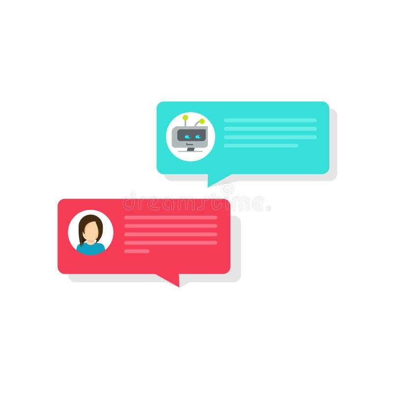 Chatbot och illustration för vektor för pratstundbubblasymboler, plan bot och personmessagingbubblor, automatisk idé av internet vektor illustrationer