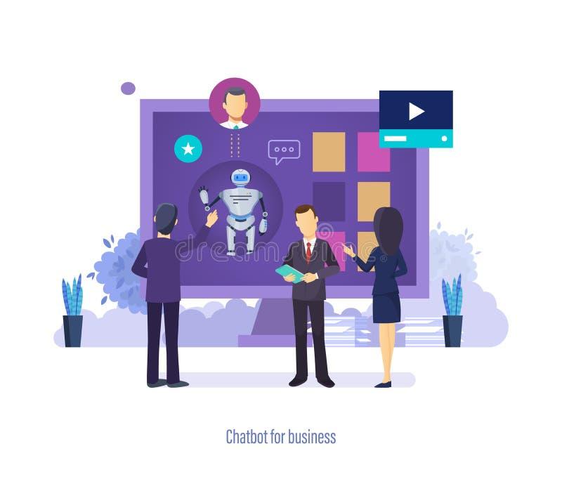 Chatbot per l'affare Assistente virtuale del robot, servizio d'assistenza, supporto tecnico royalty illustrazione gratis
