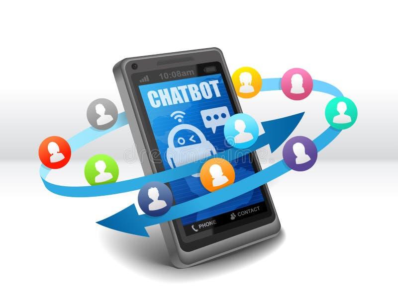 Chatbot Robo rådgivarekonversation med anförande bubblar på mobil stock illustrationer