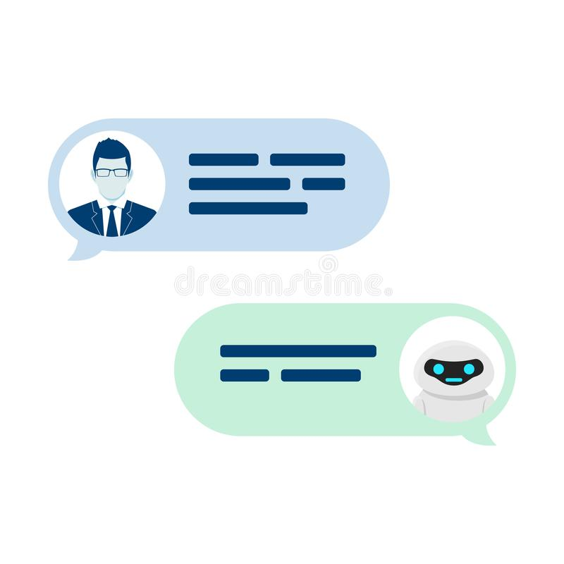 Chatbot robot concept. Dialog help service. User ask question and bot give answer. Vector illustration isolated on white stock illustration