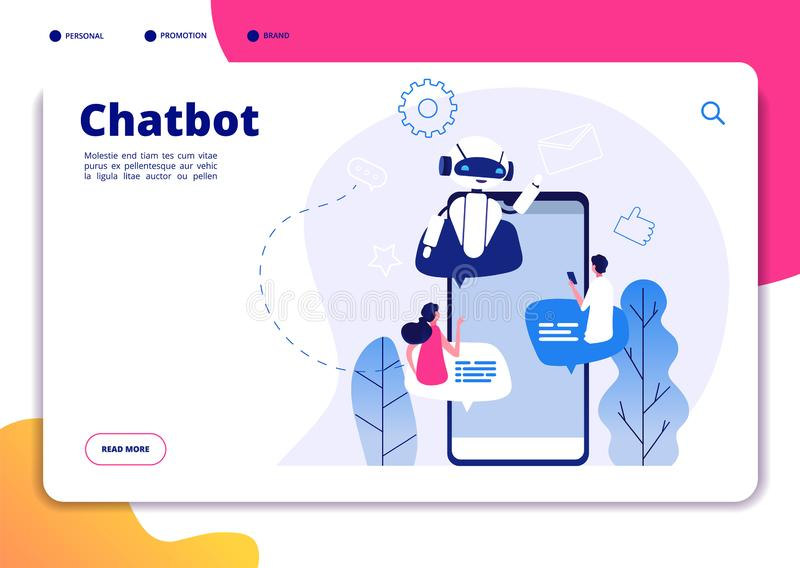 Chatbot. Robotics chatterbot smart robotical conversetion ai bot online talking helping chatbots answering phone vector stock illustration