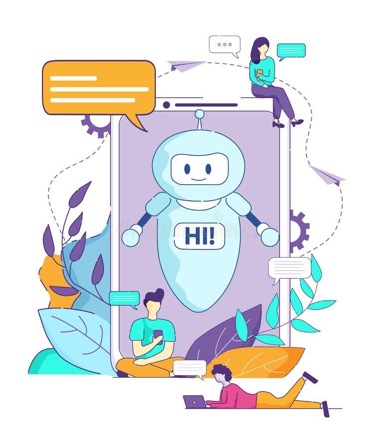 Chatbot säger Hi webbläsaren för konstgjord intelligens vektor illustrationer