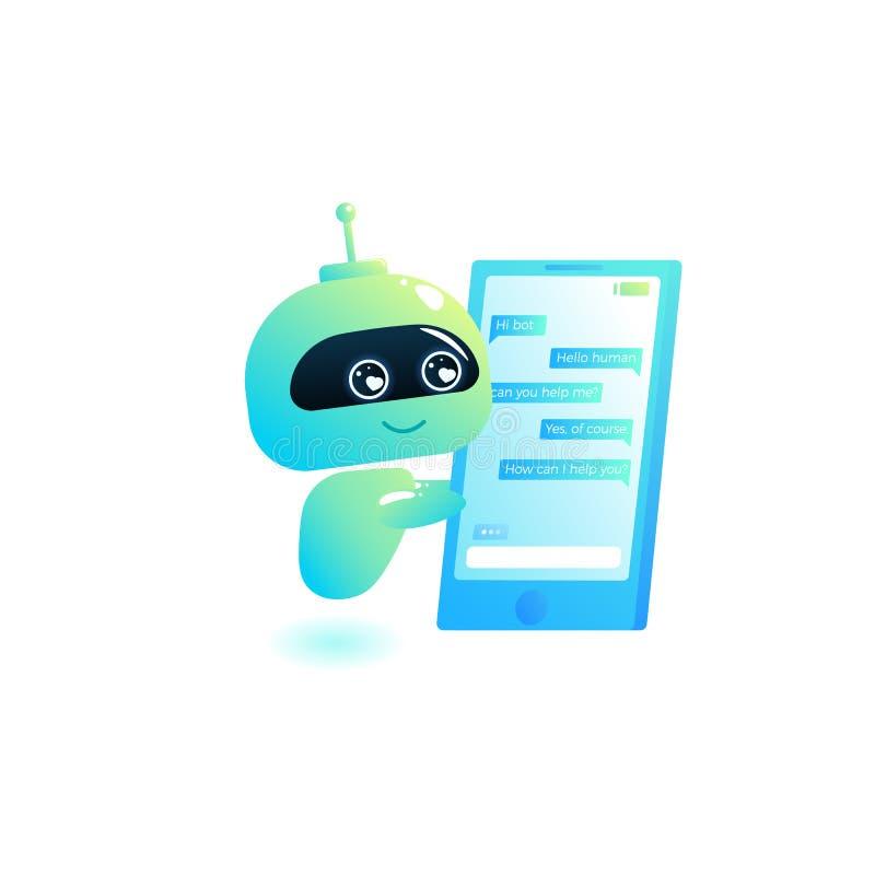 Chatbot scrive la risposta ai messaggi nella chiacchierata Il consulente in materia del Bot è libero di guidare gli utilizzatori  illustrazione vettoriale