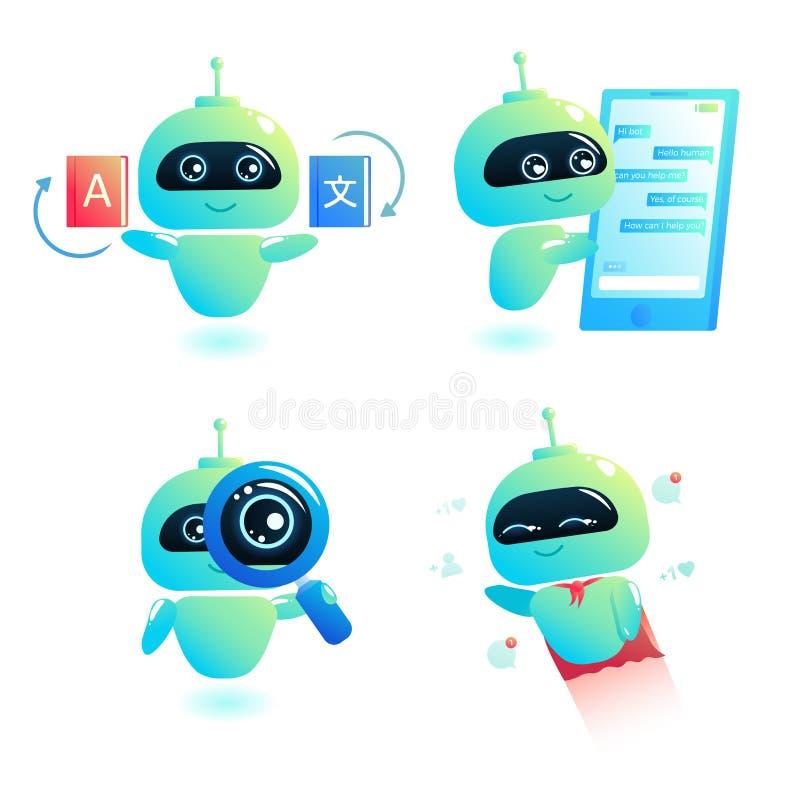 Chatbot set pisze odpowiedzi wiadomości w gadce Larwa konsultant jest bezpłatny pomagać użytkowników w twój telefonie online royalty ilustracja