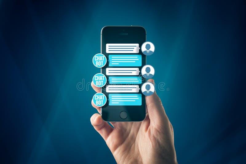 Chatbot smart phone artificial intelligence communication royalty free stock photo