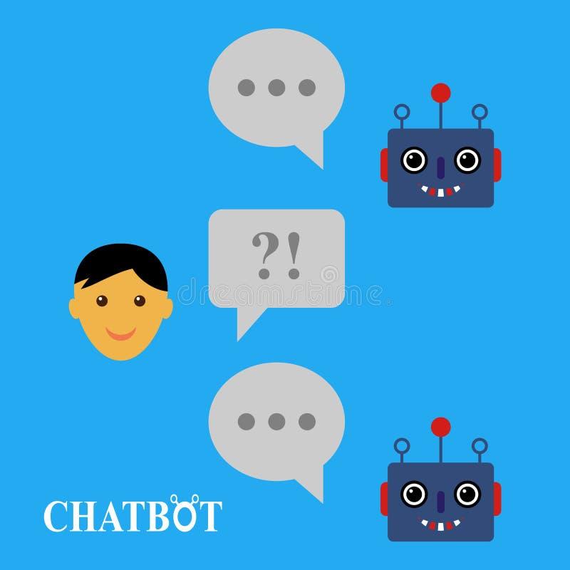 Chatbot und menschliches Gespräch stock abbildung