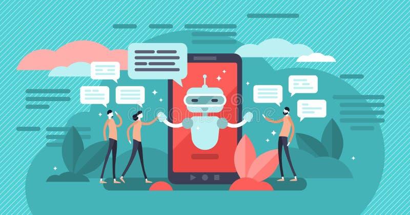 Chatbot vektorillustration Mini- personer talar med digitalt robotbegrepp royaltyfri illustrationer