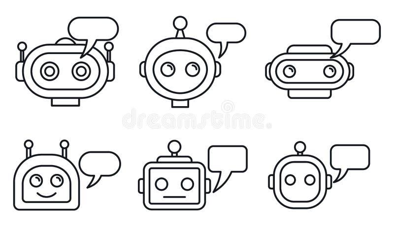 Chatbotai geplaatste de pictogrammen, schetsen stijl royalty-vrije illustratie