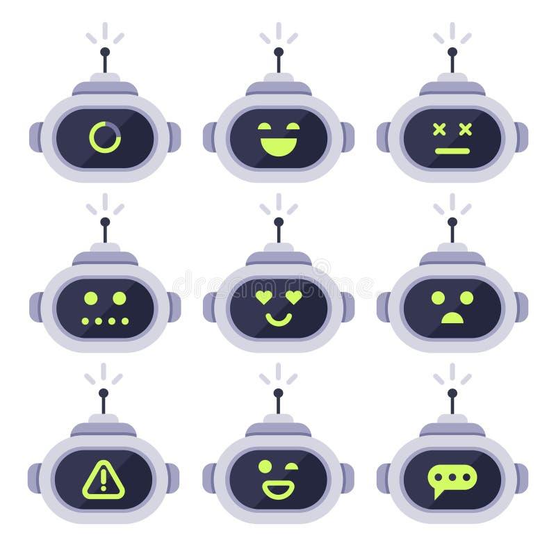 Chatbotavatar Computerpraatje bots, androïde robotgelaatsuitdrukkingen en robotachtig cyborghoofd Robotsembleem of bot vector royalty-vrije illustratie