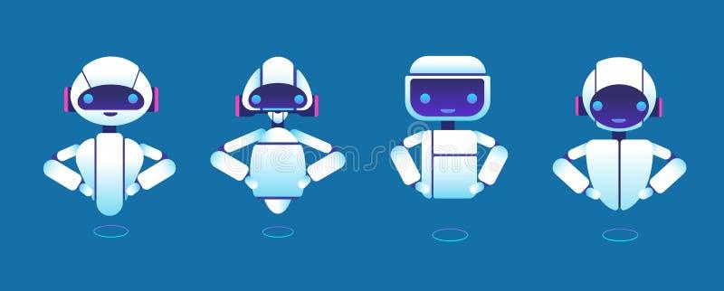 Chatbots bonitos Assistente do robô, bot da vibração, personagens de banda desenhada do vetor do chatbot do ajudante ilustração royalty free