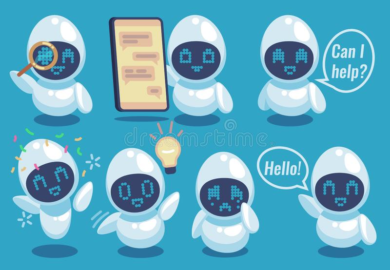 Chatbots. Friendly robot online helper, artificial intelligence communication service. Sms chatting, call center vector illustration