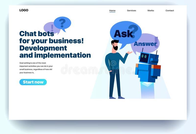 Chatbots planos de la plantilla del diseño de la página web para su negocio ilustración del vector