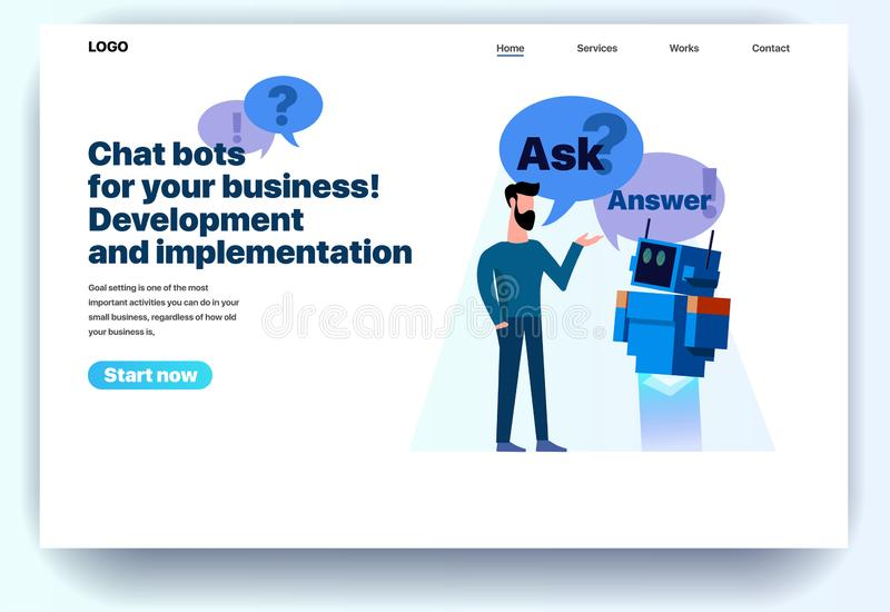 Chatbots plats de calibre de conception de page Web pour vos affaires illustration de vecteur