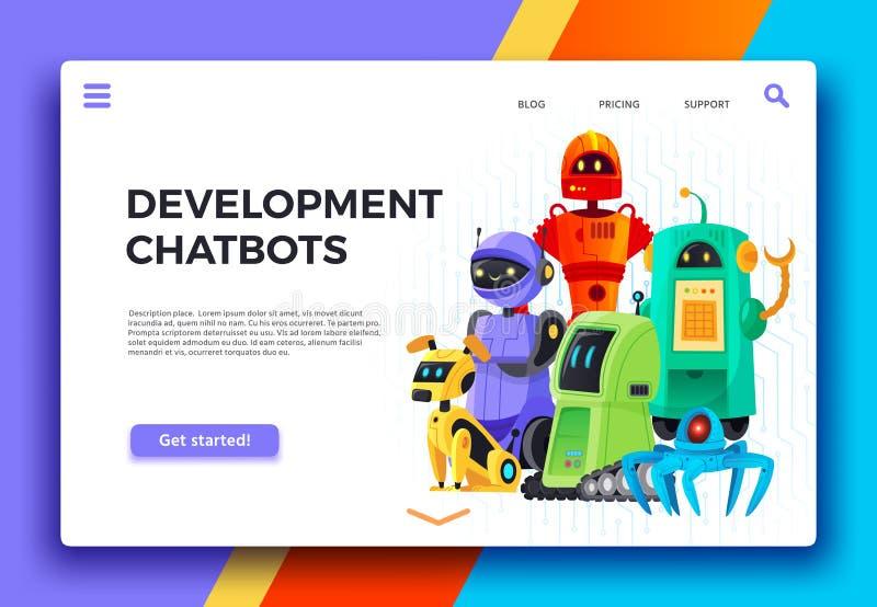 Chatbots utveckling Digital chatbotassistent, vänliga robotar och vektor för tecknad film för sida för hjälprobotlandning royaltyfri illustrationer