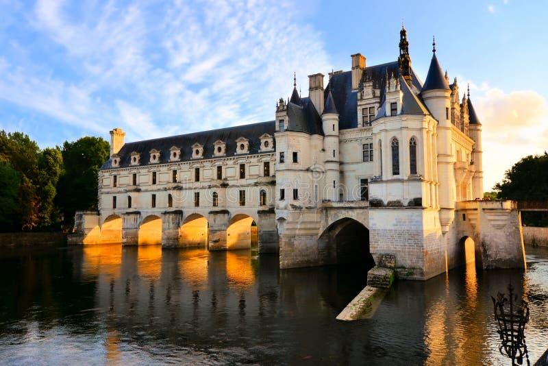 Chateau在日落的de Chenonceau,卢瓦尔河,法国 库存图片