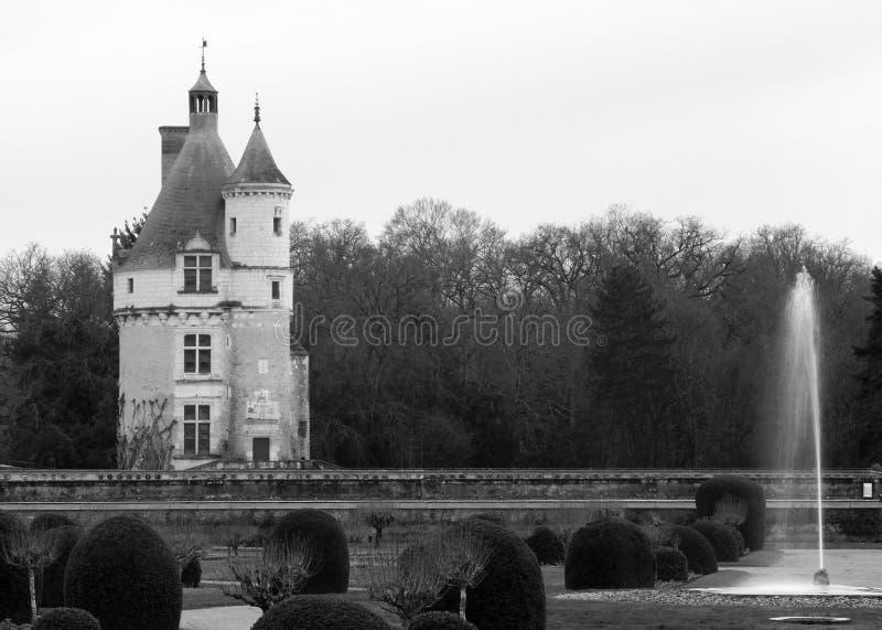 Chateau blanco y negro de Chenonceau en Francia foto de archivo libre de regalías