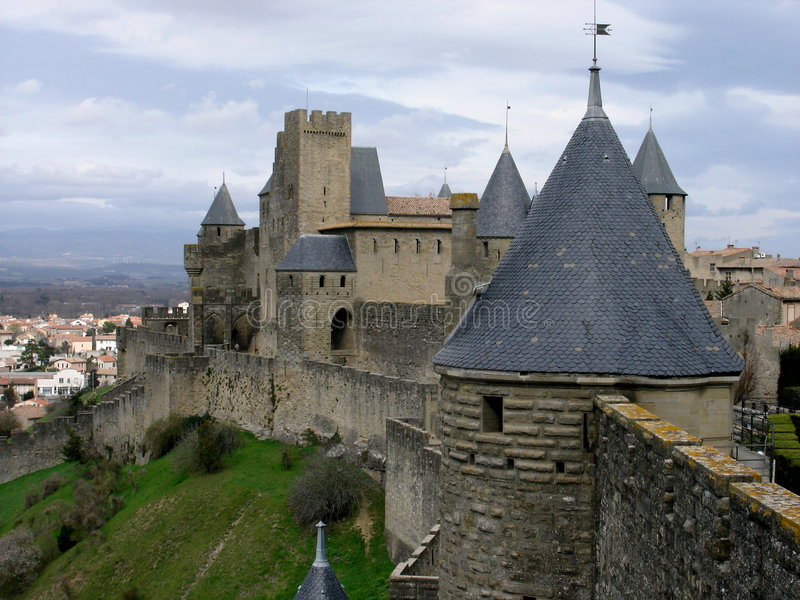 Chateau of Carcassone stock photography