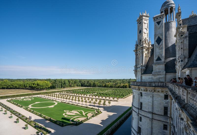 Chateau Chambord garden view from the top of the castle. stock image