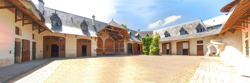 Chateau Chaumont-s-Loire. Chaumont-s-Loire, France - June 8, 2014: Chateau Chaumont-s-Loire. The patio stock photography
