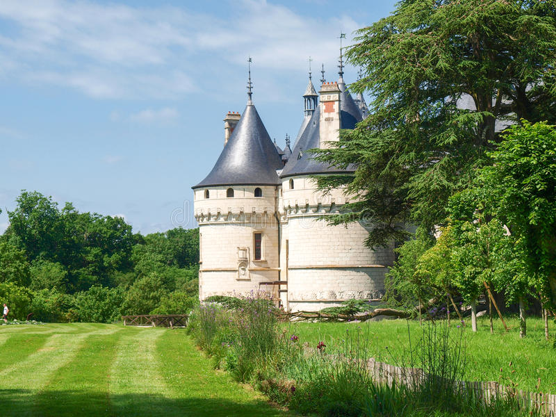 Chateau Chaumont-s-Loire. Chaumont-s-Loire, France - June 8, 2014: Chateau Chaumont-s-Loire. View of part of the castle and the garden circumstances royalty free stock images