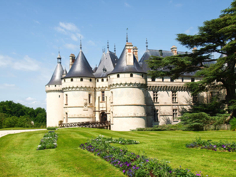 Chateau Chaumont-s-Loire. Chaumont-s-Loire, France - June 8, 2014: Chateau Chaumont-s-Loire. View of part of the castle and the garden circumstances royalty free stock photography