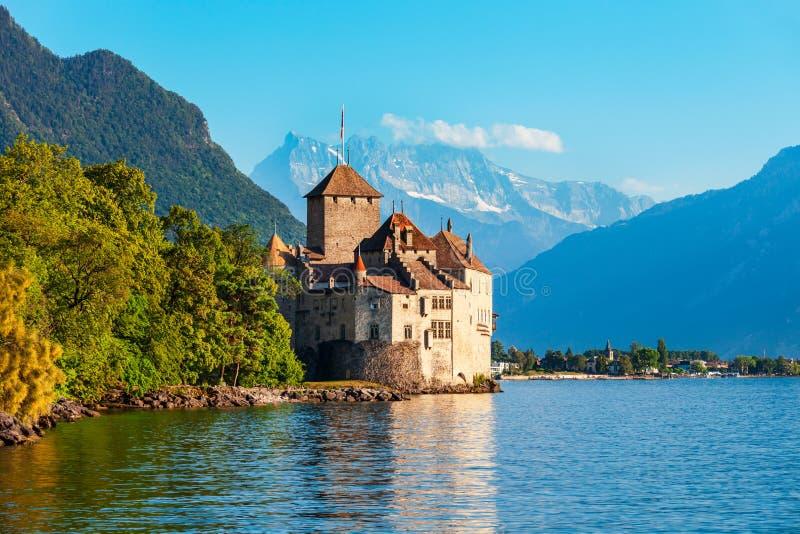 Chateau Chillon Castle i Schweiz royaltyfri fotografi