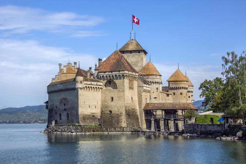 Chateau Chillon - Switzerland. The medieval castle of Ctateau de Chillon on the north shore of Lake Geneva in Switzerland. The castle dates from 1005AD