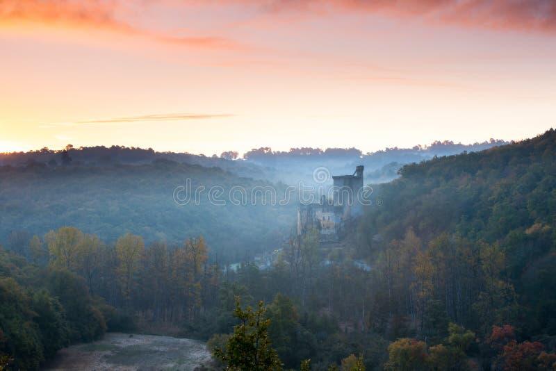 Chateau Commarque at sunrise stock photo