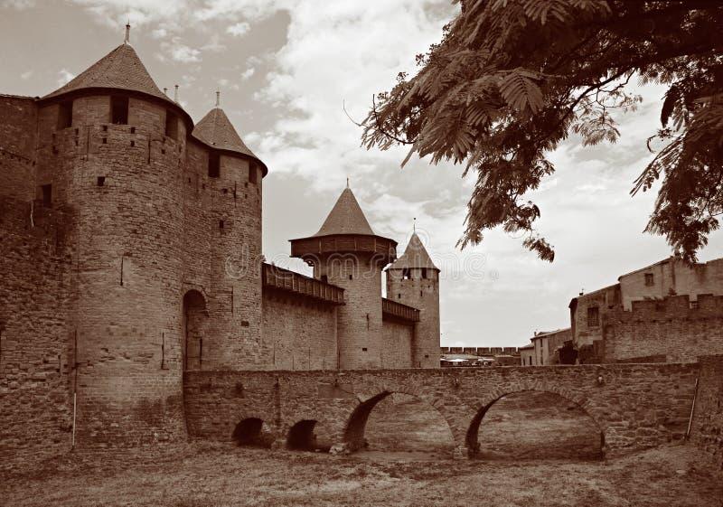 Chateau Comtal, Carcassonne stockbilder