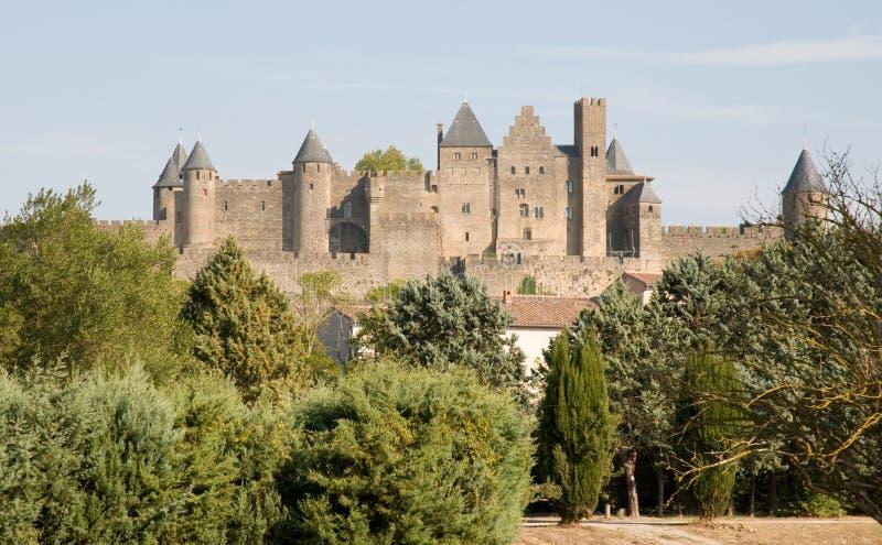 Chateau Comtal Carcassonne stockfotos